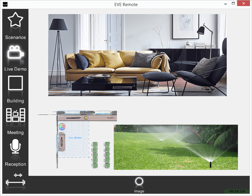 Only Image component view mode inside the Map interface within the Home automation app EVE Remote plus