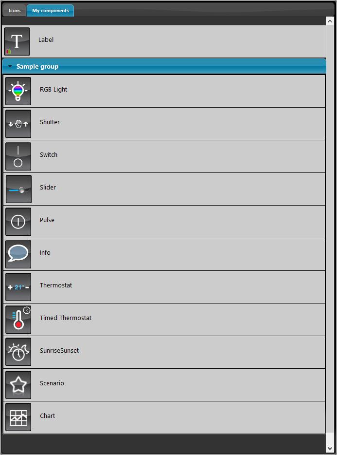 Come viene rappresentata la sezione componenti all'interno della tab interfaccia utente nel software per la configurazione della domotica EVE Manager