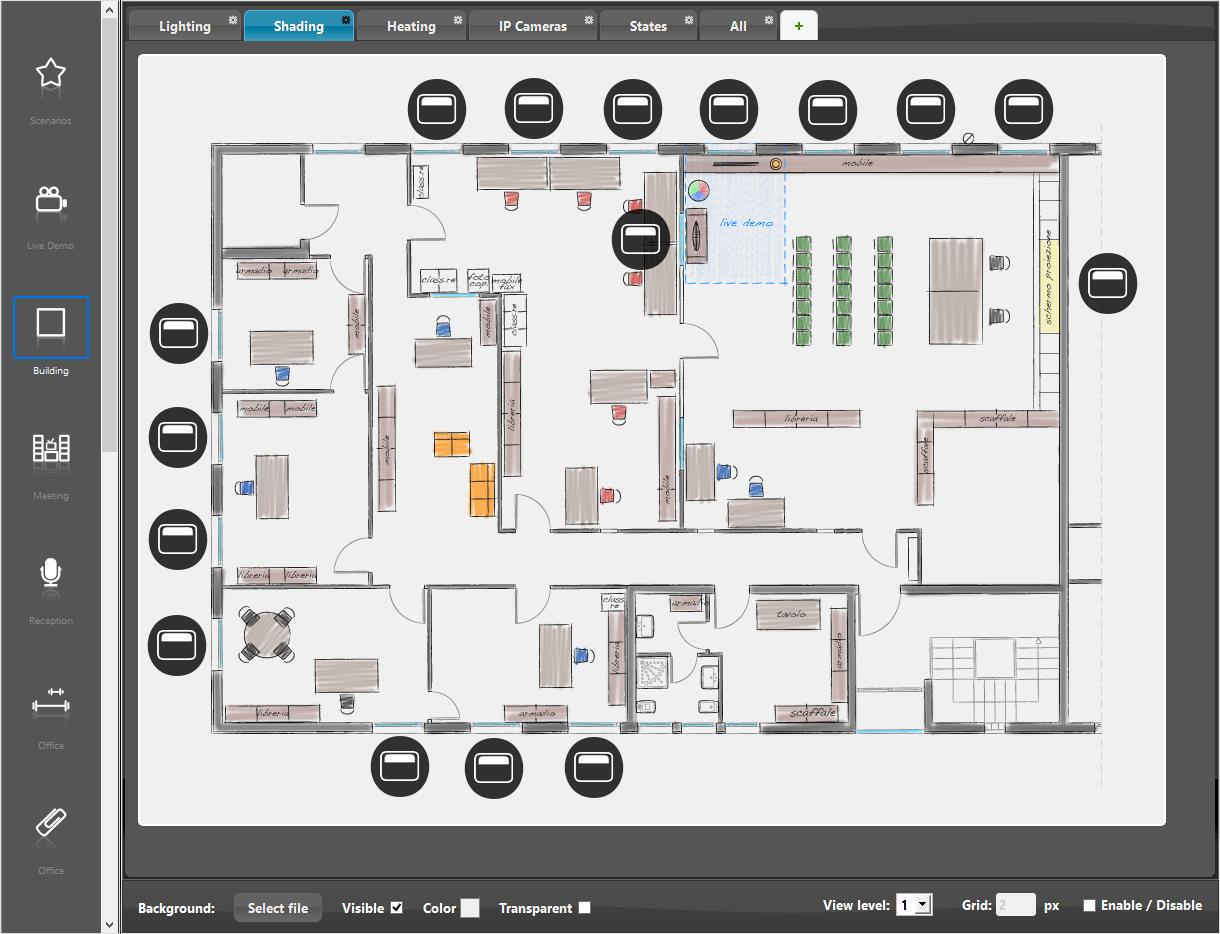 Come viene rappresentata la interfaccia utente a mappe all'interno del software di configurazione della domotica EVE Manager pro