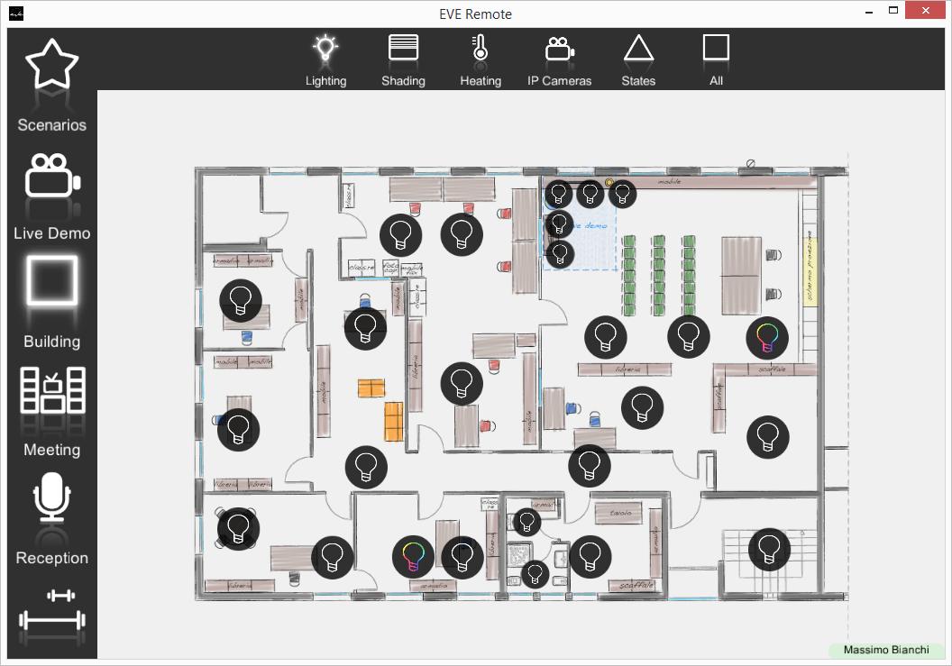 Come l'interfaccia utente a mappe viene rappresentata all'interno dell'applicazione per il controllo della domotica EVE Remote Plus