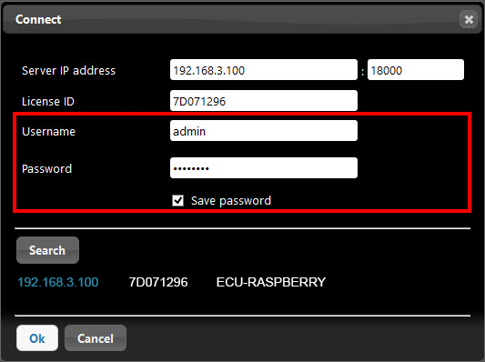 Inserting the credential to connect ti the Home automation server X1