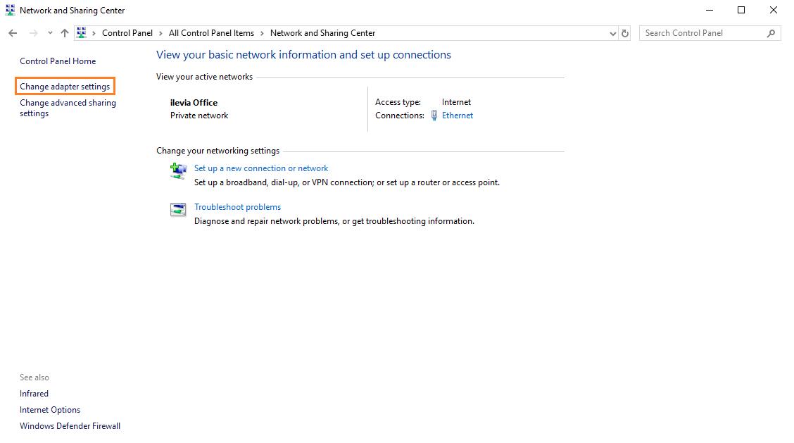 Impostazioni scheda di rete per impostazione connessione diretta con il server per il controllo della domotica EVE X1
