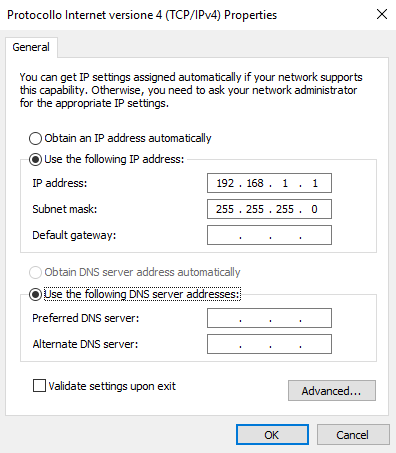 IP address prorpeties for the direct connection to the Home automation server EVE X1