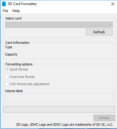 How to format a USB dirver with the SD card formatter software