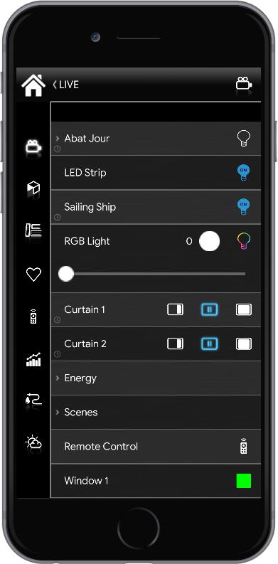 Component menu inside the Home automation app EVE Remote Plus