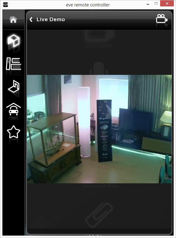 Rappresentazione Camera IP all'interno dell'applicazione per il controllo della domotica EVE Remote Plus visualizzazione classica