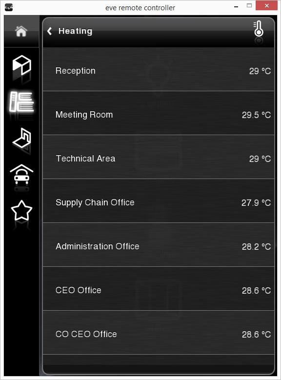 Componente info all'interno dell'applicazione per il controllo della domotica EVE Remote Plus stile classico