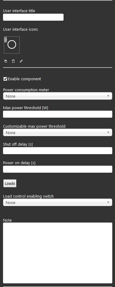 Load control's component properties inside the Home autoamtion software EVE Manager
