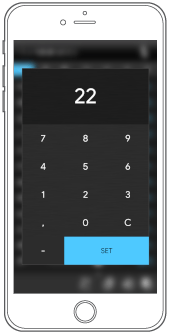 Tastiera Numerica selezione temperatura componente Termostato Temporizzato in EVE Remote Plus visualizzazione classica