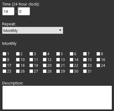 Proprietà componente Timer all'interno del software di configurazione della domotica EVE Manager Mensilmente