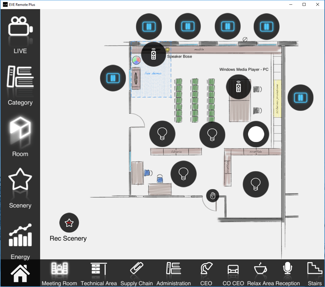 How the UPnP device can be seen inside the map interface of the Home automation app EVE Remote Plus