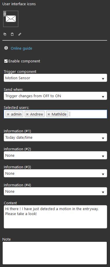 specifiche tecniche del componente notifiche all'interno del software di configurazione domotica EVE Manager