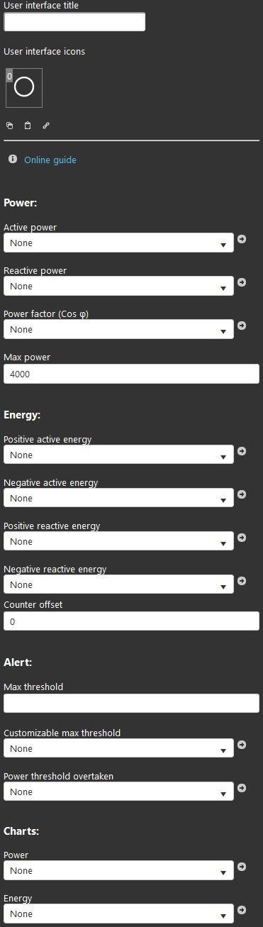 Energy meter component inside the Home automation softare EVE Remote Plus