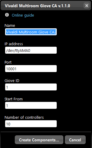 How to create the Vivaldi Multiroom Giove CA inside the Home automatio software EVE Manager