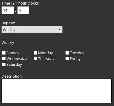 Proprietà componente Timer all'interno del software di configurazione della domotica EVE Manager Giornalmente