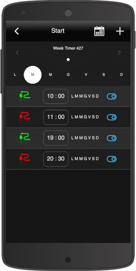 How the scheduling is rappresented inside the Home automation app EVE Remote Plus classic style
