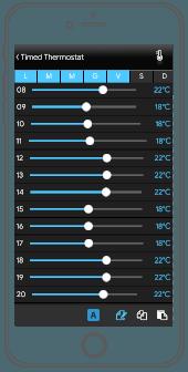 Impostazione giorni settimana Termostato temporizzato all'interno dell'applicazione per il controllo della domotica EVE Remote Plus visualizzazione classica