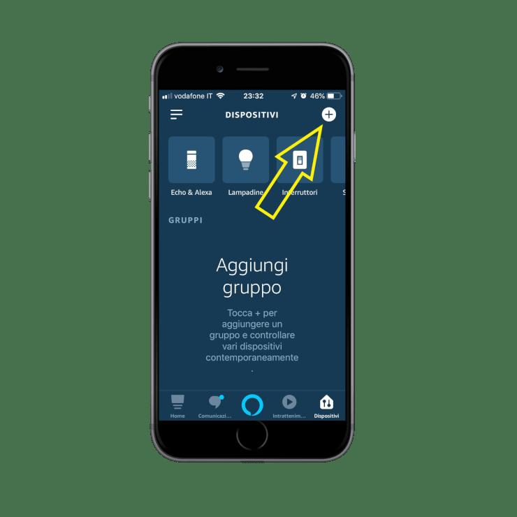 Come aggiungere nuovi dispositivi nell'app Voice Assistant Amazon Alexa | Icona menu dispositivi