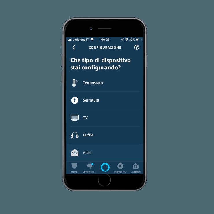 Come aggiungere nuovi dispositivi nell'app Voice Assistant Amazon Alexa |Tipo di dispositivo da aggiugere
