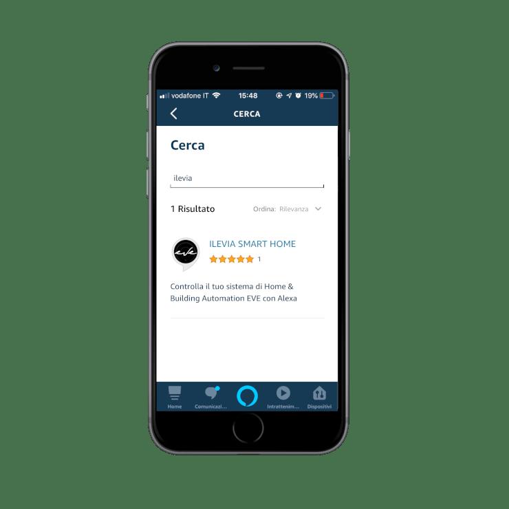 Come aggiungere la skill Ilevia smart home nell'applicazione dell'assistente vocale Amazon Alexa |Selezione skill Ilevia Smart Home