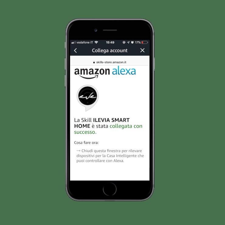 Come aggiungere la skill Ilevia smart home nell'applicazione dell'assistente vocale Amazon Alexa | Conferma collegamento skill all'account