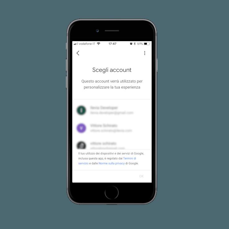 Collegamento account Google all'applicazione assistente Google