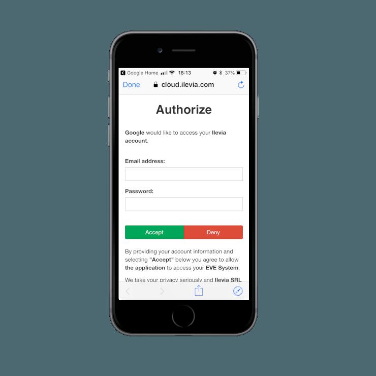 Autorizzazione per collegamento della Skill Ilevia Smart Home