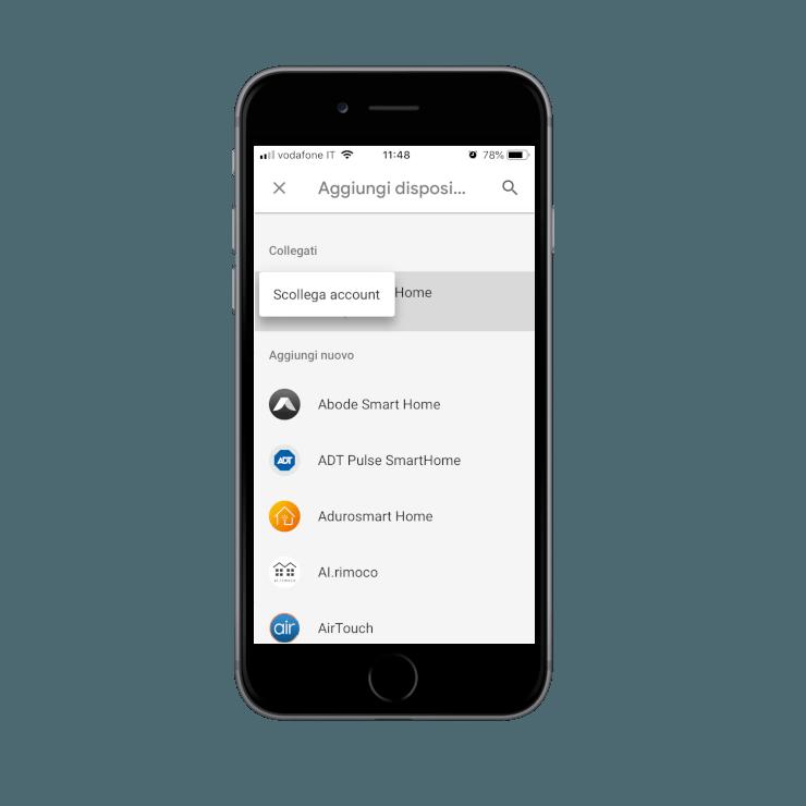 Come scollegare l'account della skill Ilevia smart Home all'interno dell'applicazione dell'assistente vocale Google
