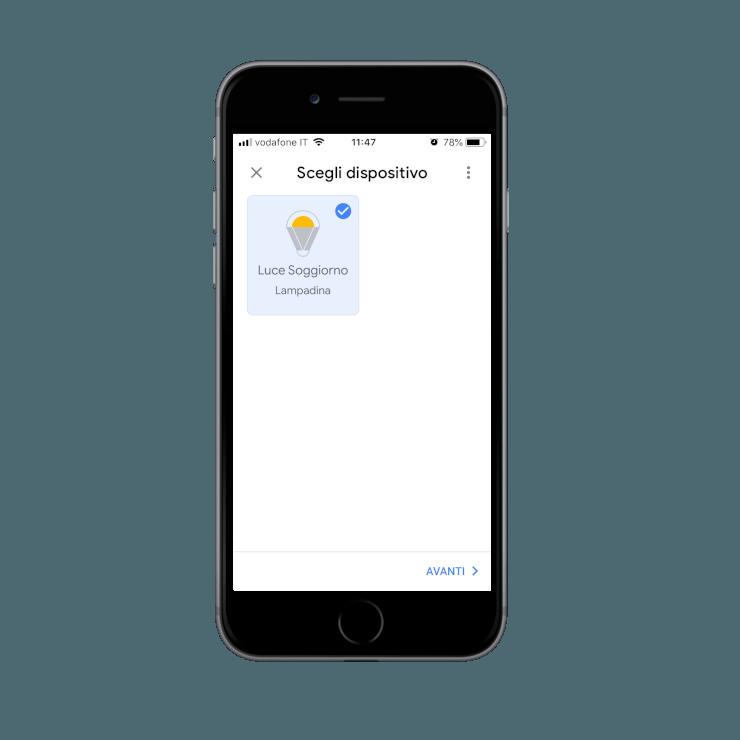 Dispositivi trovati dal collegamento della skill Ilevia Smart Home all'interno dell'applicazione dell'assistente Vocale Google