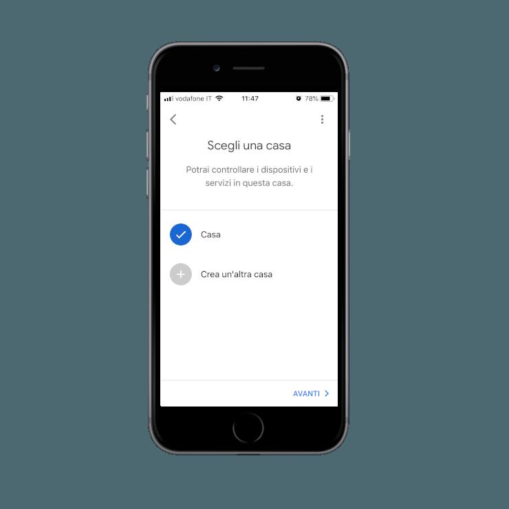 Come collegare i dispositivi trovati alla casa precedentemente creata all'interno dell'applicazione dell'assistente vocale Google