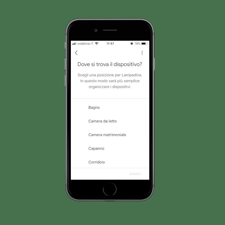 Come inserire i dispositivi all'interno degli ambienti della casa all'interno dell'applicazione dell'assistente Google