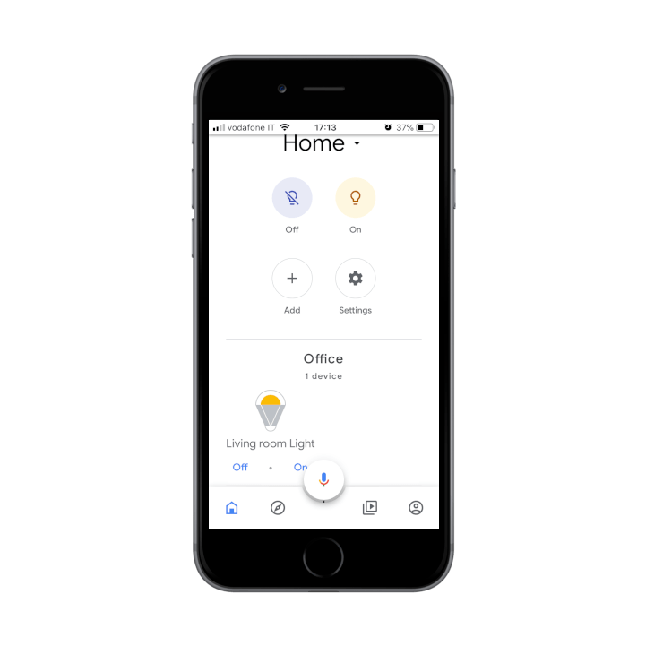 How are the placed devices seen inside the Google assistant app