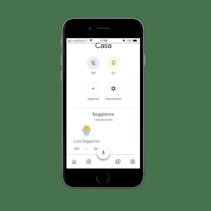 Come viene visualizzati i dispositivi posizionati all'interno dell'applicazione dell'assistente vocale Google