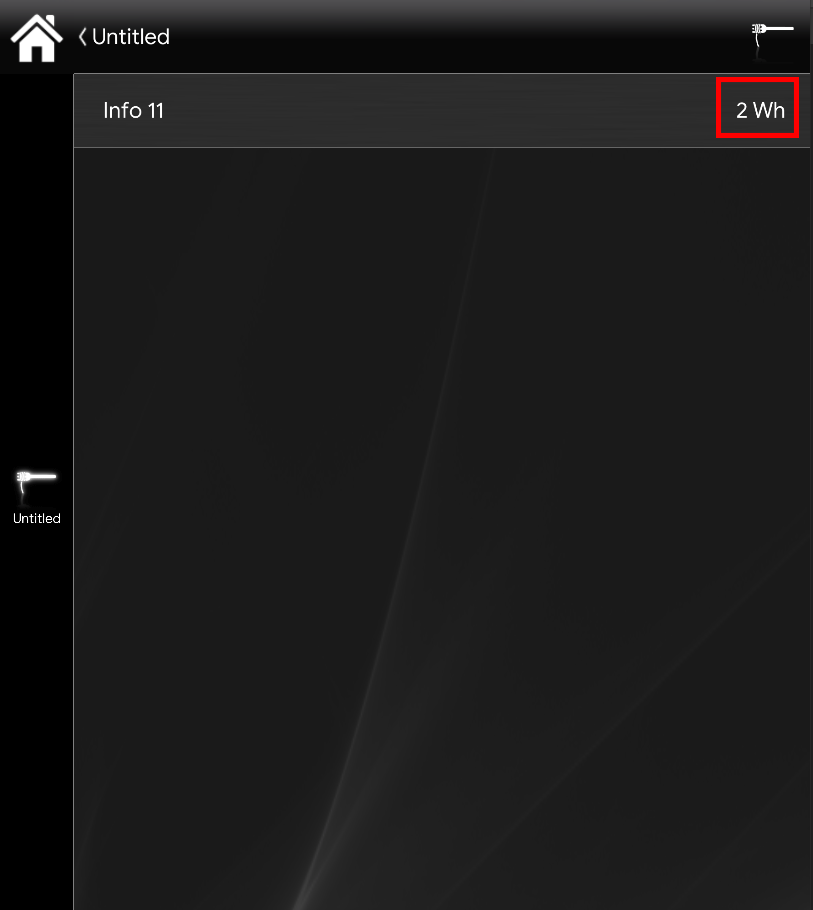 Visual result of the info component set up inside the Classic User interface Inside the Home automation app EVE Remote Plus