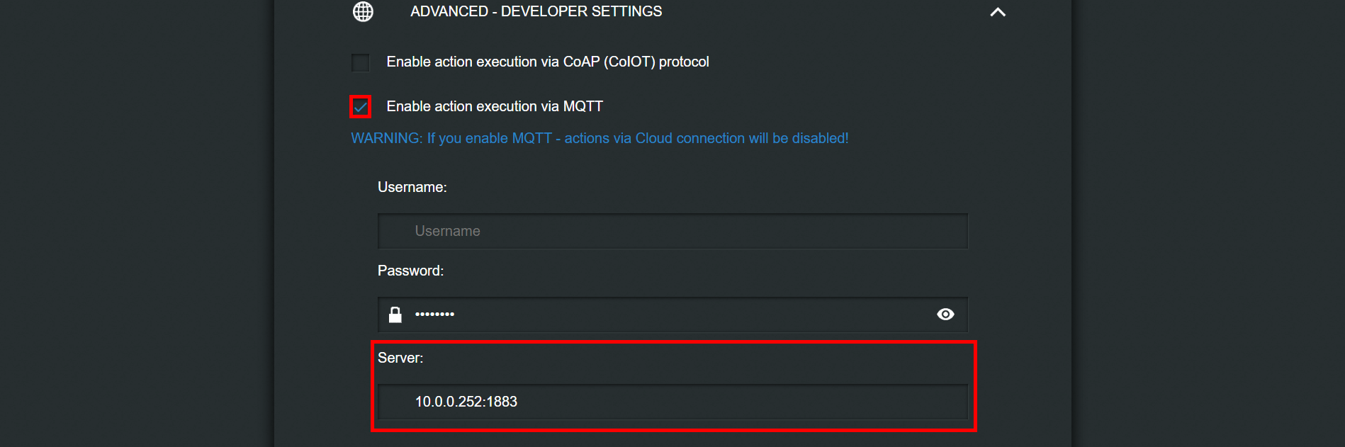 Completing the shelly MQTT configuration for the server