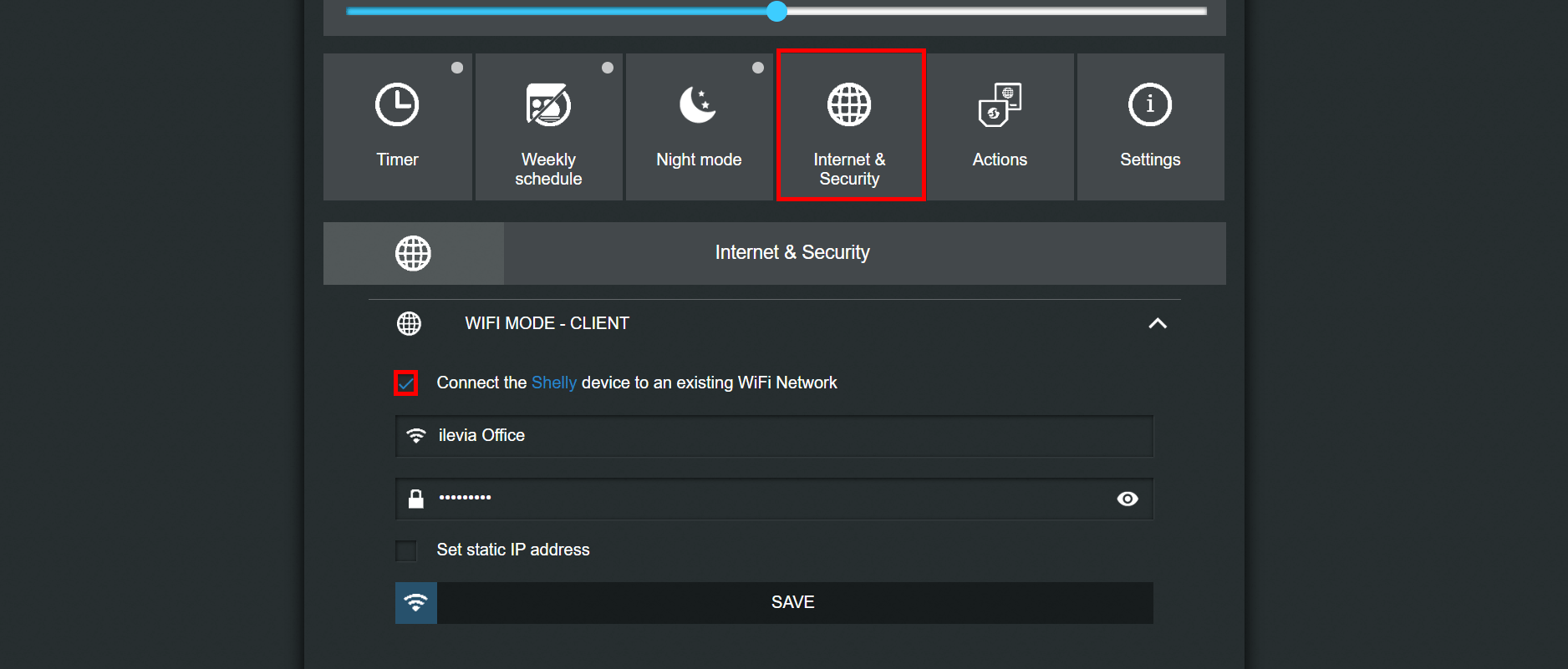 How to set the wifi client mode to shelly device