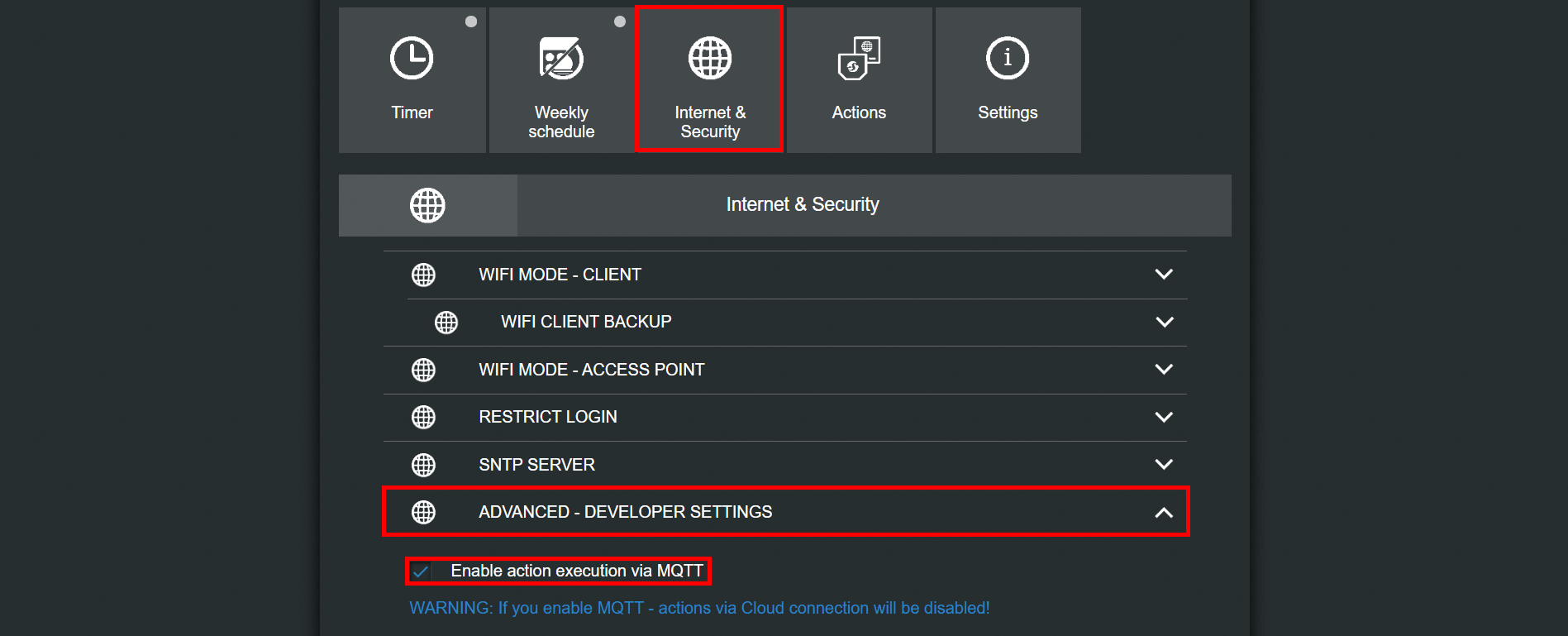 How to enable the internet security settings