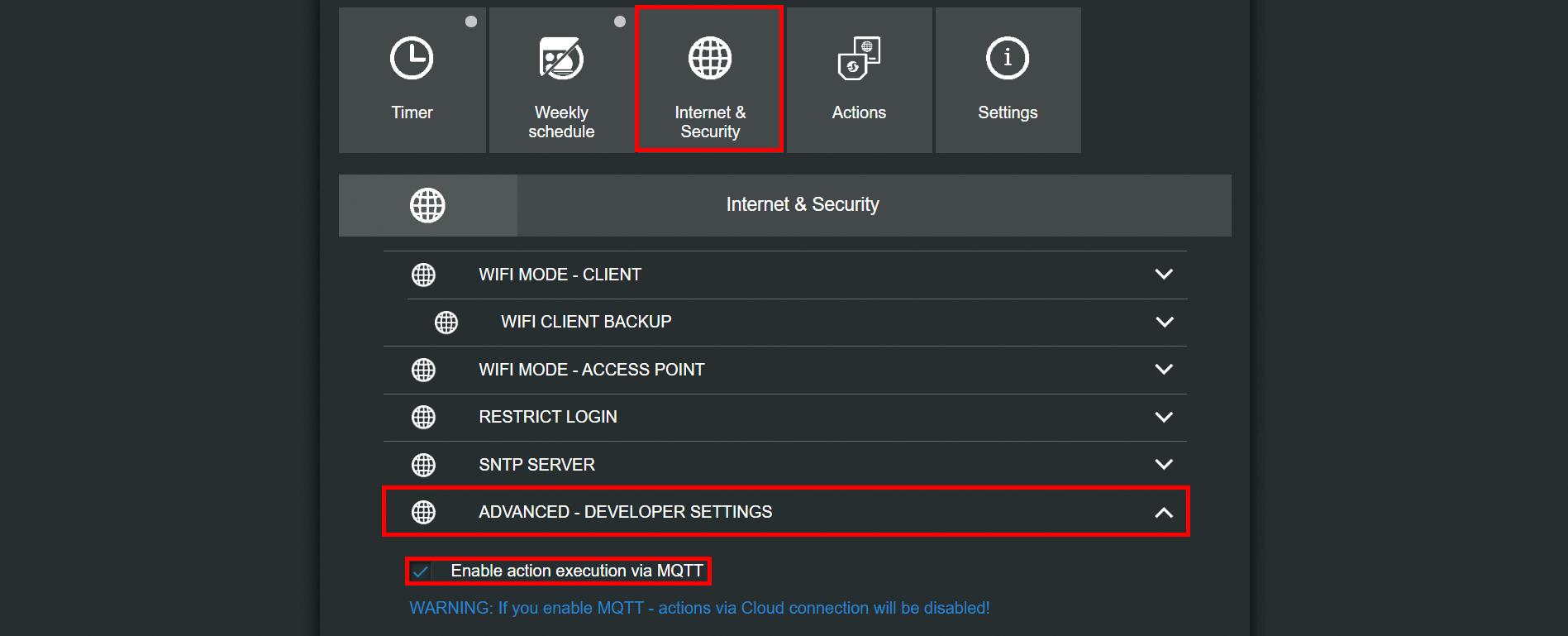 Come abilitare il protocollo MQTT nel dispositivo shelly