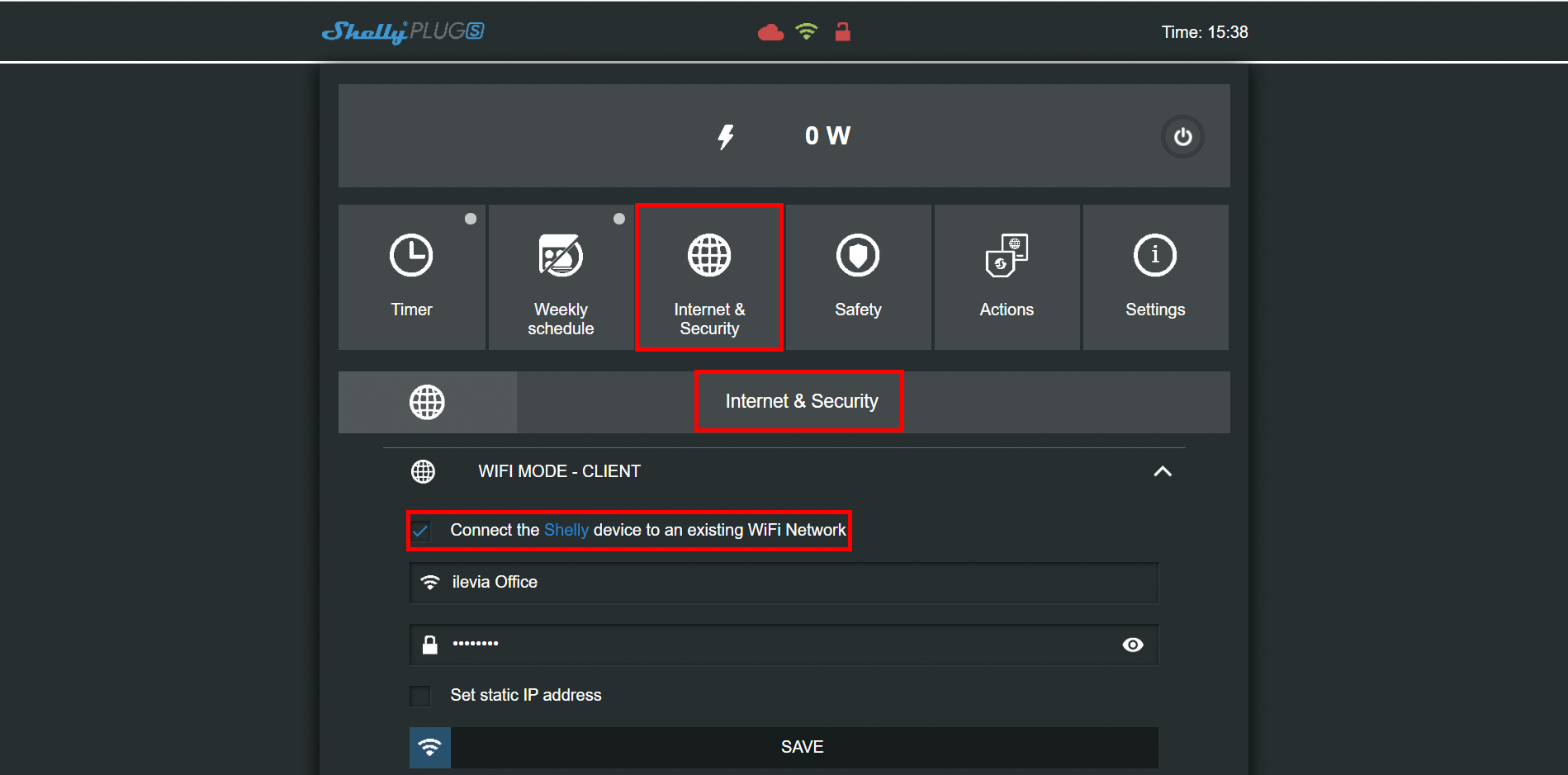 Come impostare la modalità wifi client nel dispositivo shelly