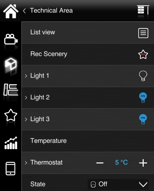 How does the list view component look like inside the Home automation app EVE Remote Plus classic view
