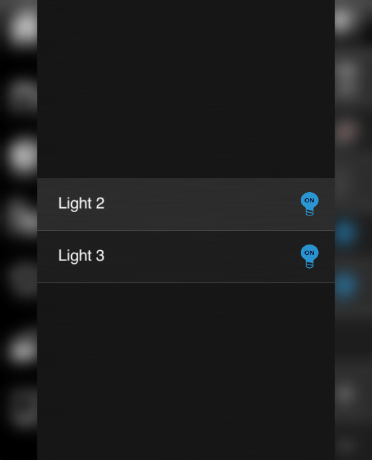How does the list view component looks like inside the Home automation app EVE Remote Plus classic view