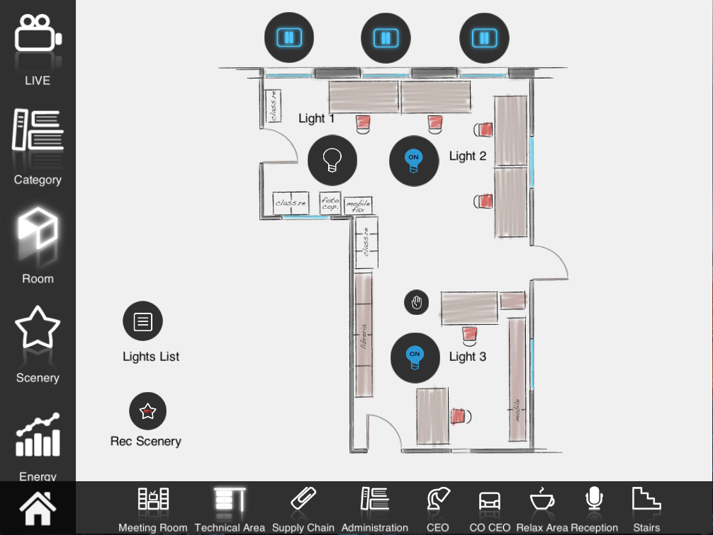 How does the List view componente look like in map view mode inside the Home automation app EVE Remote Plus