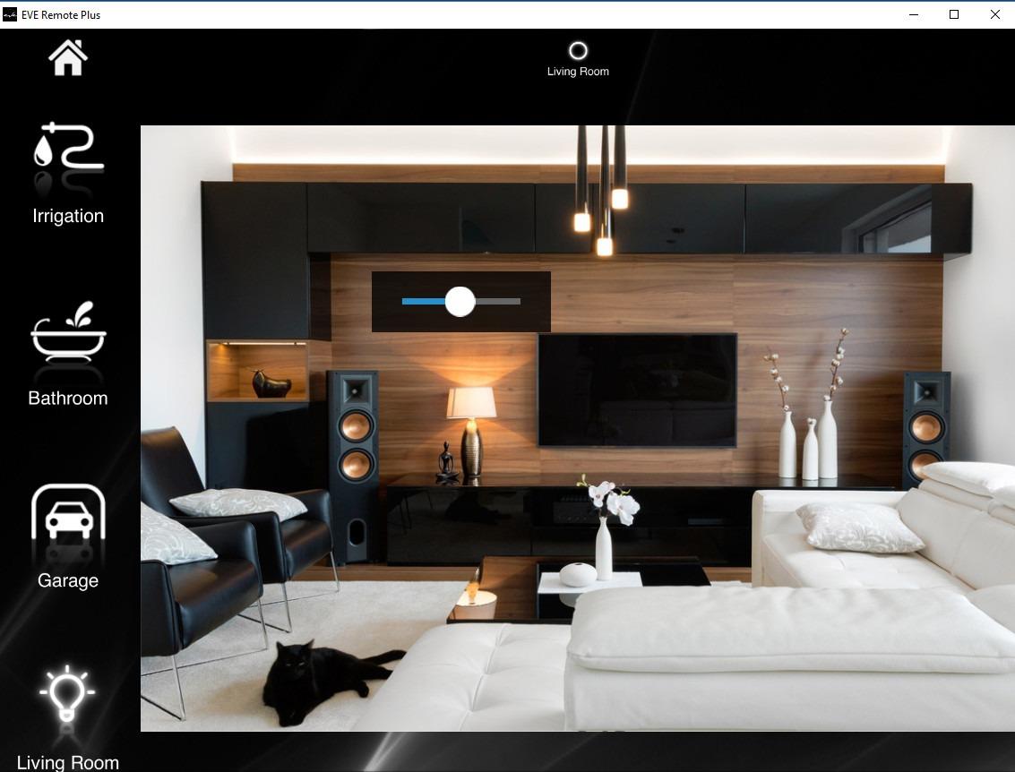 Componente Dimmer in modalità cursore all'interno della modalità di visualizzazione a mappe