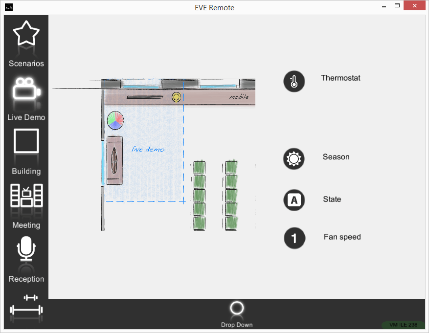 How does the drop down looks inside the EVE Remote Plus app map view mode