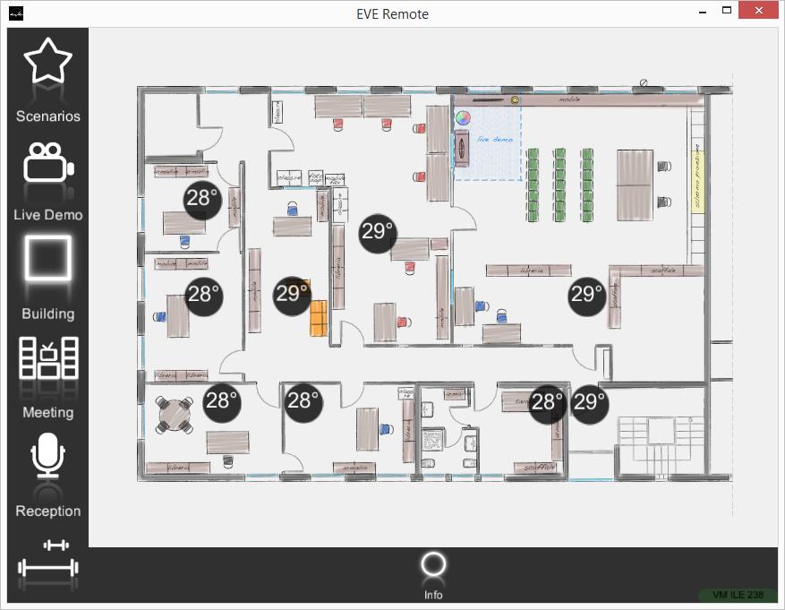 Componente info all'interno dell'applicazione per il controllo della domotica EVE Remote Plus stile a mappe