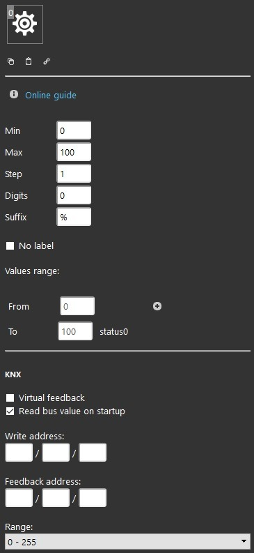 Slider component properties inside the Home automation softawre EVE Manager
