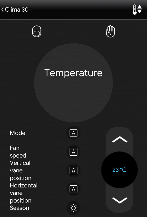 Clima component inside the Home automation app EVE Remote plus
