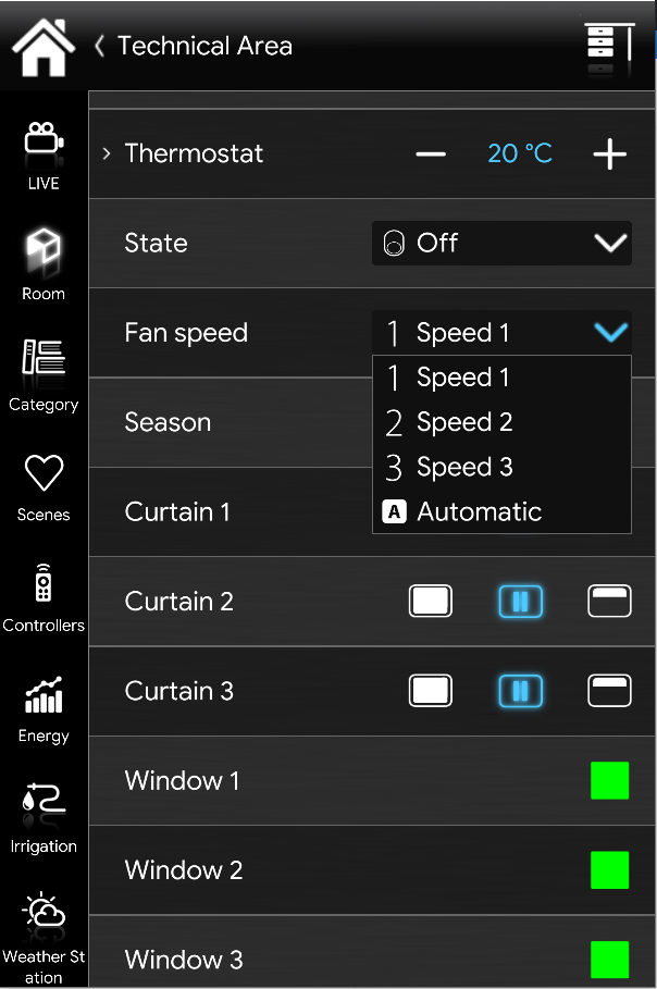 How does the drop down menu looks like inside the EVE Remote Plus  classic interface