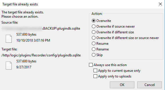 How to import files inside the x1 server via ftp protocol