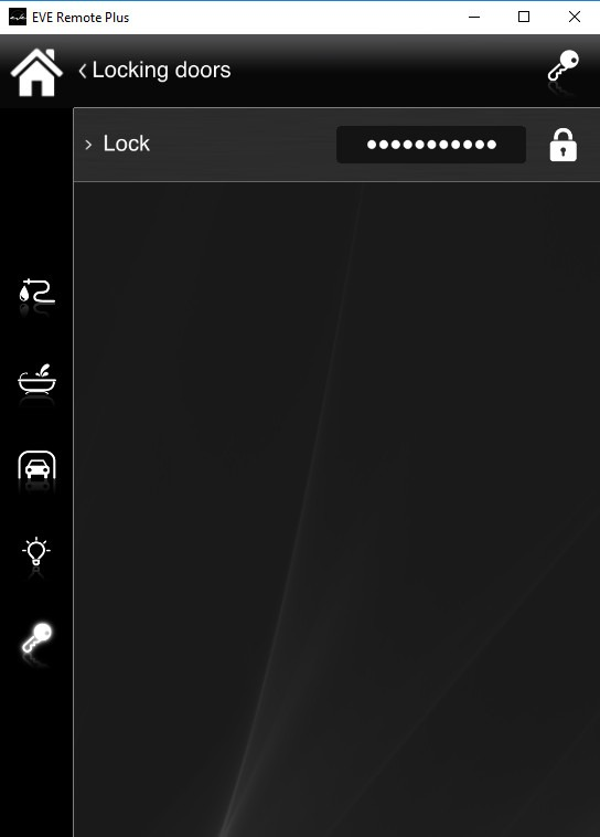 How the lock component looks like inside the Home automation app EVE Remote Plus classic style